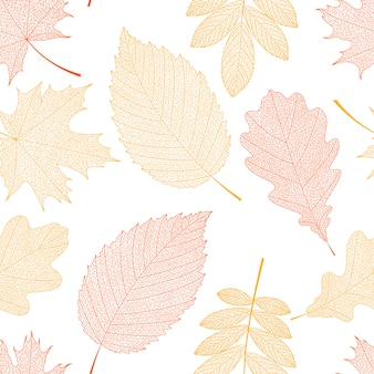 Seamless background with red and orange leaves