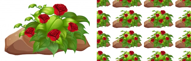 Seamless background  with red roses on rock