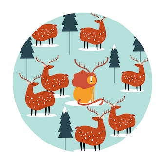 Seamless background with reindeers and lion vector