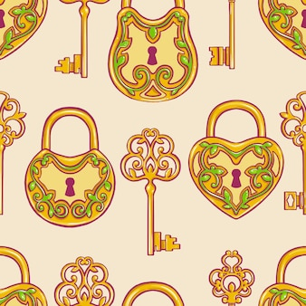 レトロなゴールドのキーと花柄のロックとのシームレスな背景