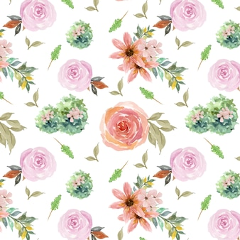 Seamless background with roses and branches