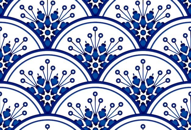 丸い模様とのシームレスな背景。水彩の青と白の背景に花飾り。中国磁器デザイン