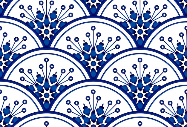 Seamless background with round patterns. floral ornament on watercolor blue and white backdrop. chinese porcelain design