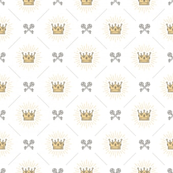 Бесшовный фон с королевской короной и скрещенными старыми ключами - узор для обоев, оберточной бумаги, книжного форзаца, конверта внутри и т. д.