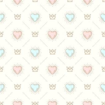 Бесшовный фон с королевской короной и сердцем в виде солнечных лучей - узор для обоев, оберточной бумаги, книжного форзаца, конверта внутри и т. д.