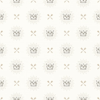 Seamless background with royal crown and crossed arrows - pattern for wallpaper, wrapping paper, book flyleaf, envelope inside, etc.