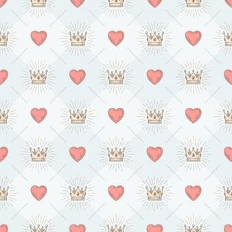 Бесшовный фон с королевской короной солнечных лучей и сердцем - узор для обоев, оберточной бумаги, книжного форзаца, конверта внутри и т. д.