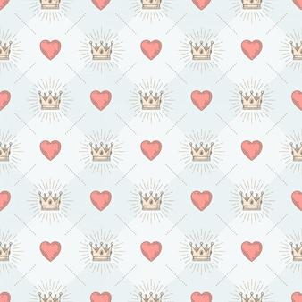Seamless background with royal sunburst crown and heart - pattern for wallpaper, wrapping paper, book flyleaf, envelope inside, etc.