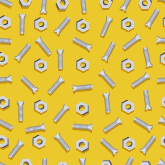 Seamless background with screws and bolts