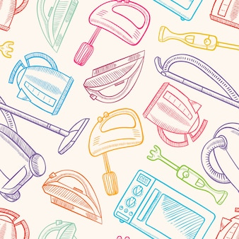 Seamless background with several hand-drawn household appliances