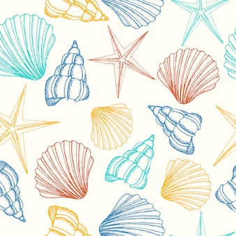 Seamless background with shells in color
