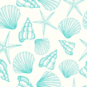 Seamless background with shells