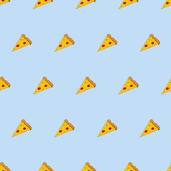 Seamless background with a slice of pizza. pizza in a flat style. endless background. good for backgrounds, cards, and wrap designs. vector.