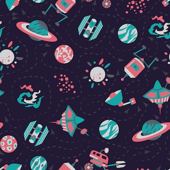 Seamless background with spaceships and stars