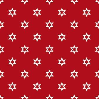 밝은 빨간색 표면 벡터 일러스트 레이 션에 묘사 된 별과 원활한 배경