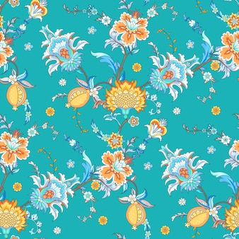 Seamless background with stylized flowers in vintage style