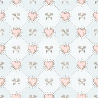 Seamless background with sunburst hearts and crossed vintage keys - pattern for wallpaper, wrapping paper, book flyleaf, envelope inside, etc.