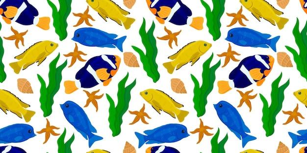열대어와 원활한 배경 수중 동물 디자인