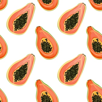 Seamless background with tropical fruits, papaya exotic texture for wallpaper, textile pattern, botanical vector illustration, fabric fashion, tropic template