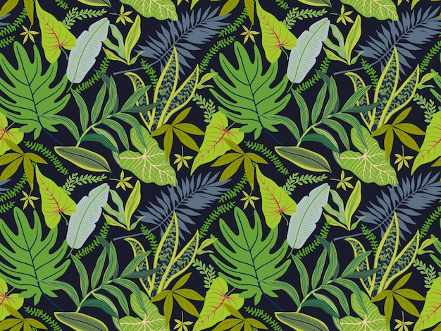 Seamless background with tropical leaves. bright jungle pattern with palm leaves and exotic plant.nd.