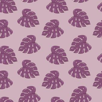 Бесшовный фон с тропическими растениями в розовых тонах. монстера уходит. модный фон. фондовый рисунок.