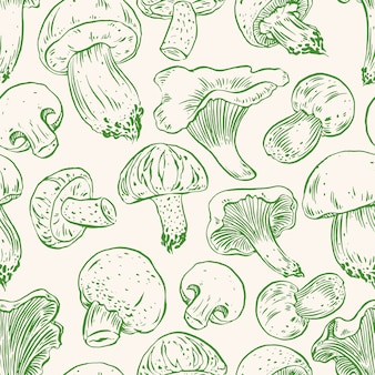 Seamless background with a variety of mushrooms. hand-drawn illustration