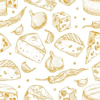 さまざまなスケッチチーズ、スパイス、ニンニク、コショウとのシームレスな背景。手描きイラスト