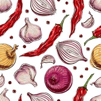 Бесшовный фон с овощами и специями. рисованная иллюстрация