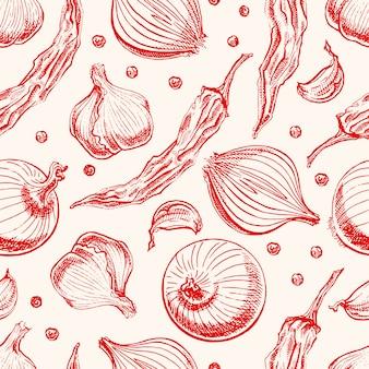 野菜とスパイスのシームレスな背景。手描きイラスト