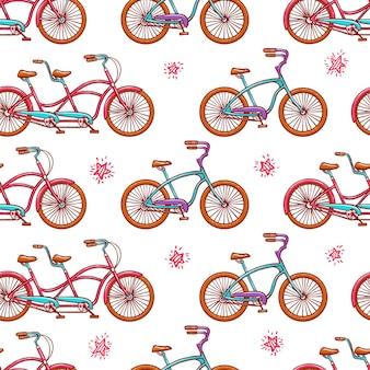 Бесшовный фон со старинными велосипедами. рисованная иллюстрация