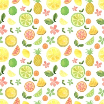 Seamless background with watercolor tropical fruits