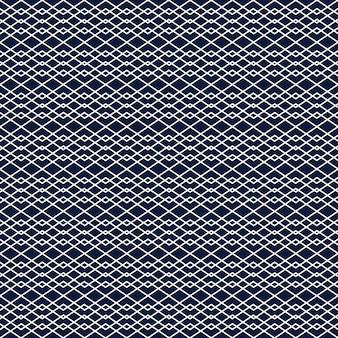 Seamless background with white lines forming geometric rhombus ornament on blue backdrop