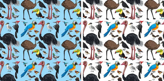 Бесшовный фон с дикими птицами