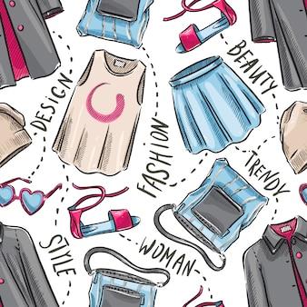 Бесшовный фон с женской одеждой и аксессуарами. рисованная иллюстрация