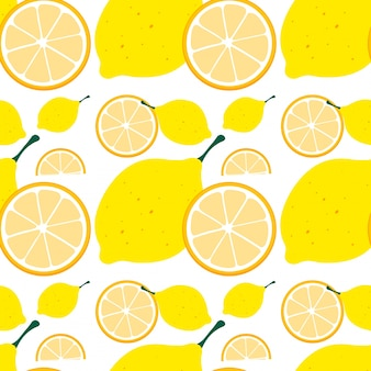 Seamless background with yellow lemon