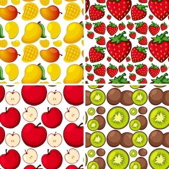 新鮮な果物とシームレスな背景