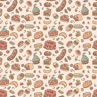 Seamless bakery pattern, hand drawn line with digital color,