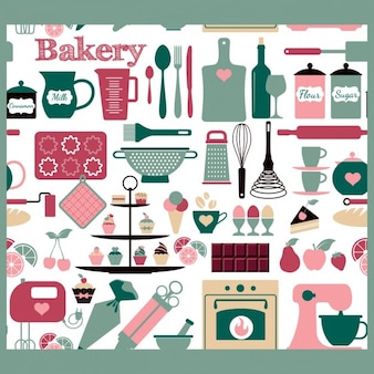Seamless bakery tools pattern