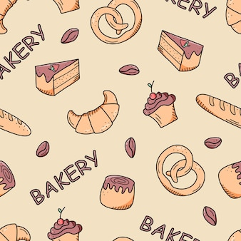 원활한 베이킹 패턴입니다. 반죽 제품의 벡터 배경, 크루아상 롤빵 컵케이크. 베이커리 또는 카페의 개념입니다.