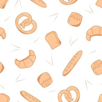 シームレスなベーキングパターン。生地製品、クロワッサン、ロールパン、パン、カップケーキのベクトルの背景。パン屋やカフェのコンセプト。