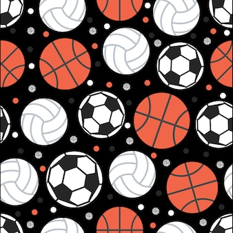 Seamless ball with polka dot pattern on yellow background
