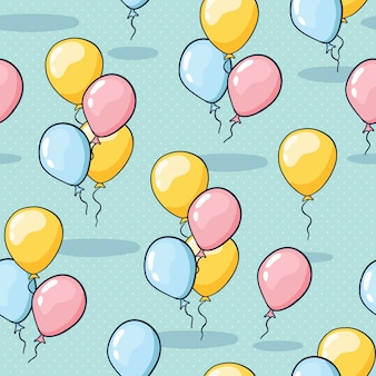 Seamless balloon pattern for birthday greeting cards