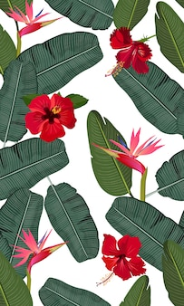 Seamless banana leaves with flower