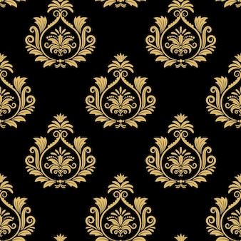 Seamless baroque background, golden damask vintage pattern on black