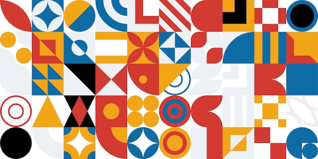 Бесшовные баухаус абстрактные векторные фон. ретро геометрический узор. мозаика простых форм.