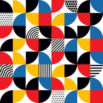 Seamless bauhaus style abstract geometric pattern