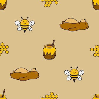 Seamless bear and bee vector pattern background