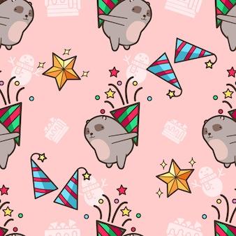 シームレスなクマはクリスマスパーティーのパターンが大好き