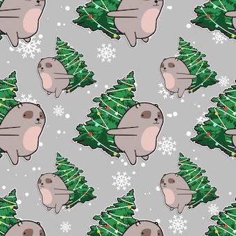Seamless bear with christmas tree pattern