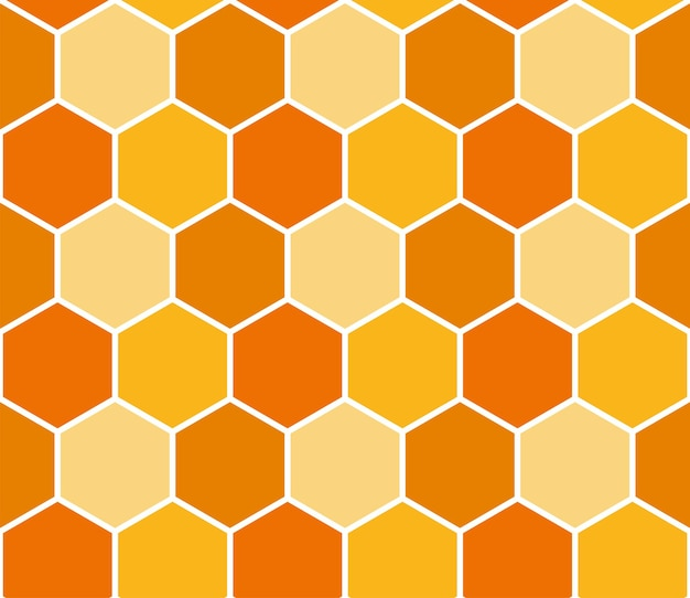Seamless bee honeycomb pattern, art background template. vector honey texture